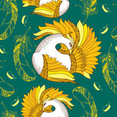 Seamless pattern with Mythological Firebird in orange and feathers. — Stock Vector