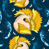 Seamless pattern with Mythological Firebird and decorative feathers. — Stock Vector