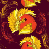 Seamless pattern with Mythological Firebird and ornate feathers — Stock Vector