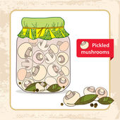 Pickled mushrooms in the glass jar with bay leaf and black pepper — Stock Vector