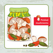 Pickled orange-cap boletus in the glass jar with bay leaf and black pepper — Stock Vector