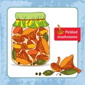 Pickled chanterelles in the glass jar with bay leaf and black pepper — Stock Vector