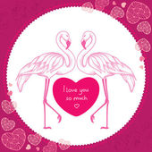 Two dotted pink flamingo with red heart in the round frame — Stock Vector