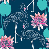 Seamless pattern with dotted flamingo and pink water lilies — Stock Vector