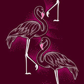 Seamless pattern with dotted flamingo in white on the dark background — Stock Vector