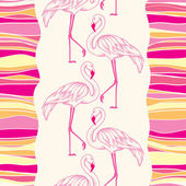 Seamless pattern with dotted pink flamingo and colorful stripes — Stock Vector