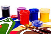 Bottles with gouache paints and brushes for artistic paintings. — Stock Photo