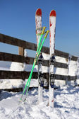 Skis in Kopaonik mountain, Serbia — Stock Photo