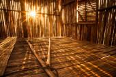 Sunlight pierces into bamboo hut — Стоковое фото