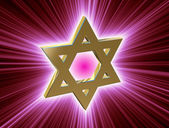 Mezi paprsky gold Star of David — Stock fotografie