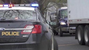 Police Car Near a Crime Scene — Stock Video