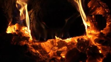Flames and Fiery Coals — Stock Video