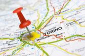 Torino on a map — Stock Photo