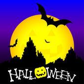 Halloween and yellow moon — Stock Vector