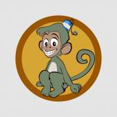 Very merry monkey expect trouble — Stock Vector