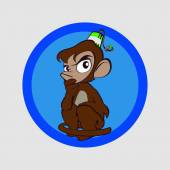 Monkey much thought — Stockvector