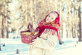 Russian woman in a red scarf — Stockfoto