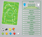 Football soccer game report illustration — Stock Vector