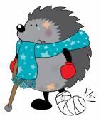 Sweet looking injured hedgehog — Stock Vector