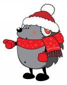 Surpris hérisson regard mignon habillé pour Noël — Vecteur
