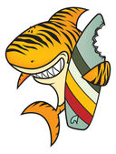 Funny tiger shark with surfboard — Stock Vector