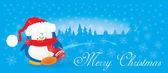Penguin Christmas card illustration — Stock Vector