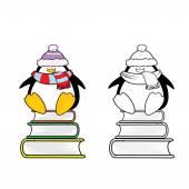 Cute looking school penguins — Vetor de Stock