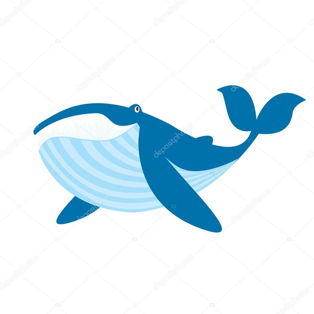 可爱的蓝色鲸鱼矢量图上白色孤立– 图库插图