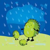 Cute looking green hedgehogs — 图库矢量图片
