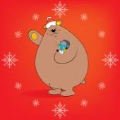 Bear with Santa's hat holding hedgehog — Stock Vector