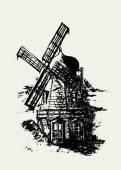 Old Dutch windmill — Stock Vector