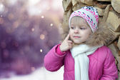 Look pensive little girl winter — Stock Photo