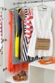 Bright colorful female fashion clothes — Stock Photo