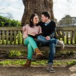 Couple in Love Hugging and Dating Sitting on a Bench in a Park Looking Each Other — Stock Photo #67840327