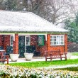 Redbrick House in a Park. Christmas Scenery and Fresh Snow — Stock Photo #67840761
