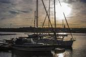 Boats moored in the harbor in the center of Hudiksvall — Stock Photo