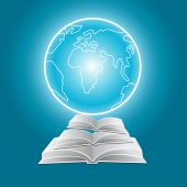 Concept of an open book and a globe — Cтоковый вектор