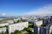Panoramic view of the urban area from a great height, sky, House — Stock Photo