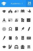 Academics, education icons set — Stock Vector