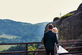 Groom comes to the bride standing near the fence on the mountain — Stockfoto