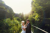 Wedding couple in a forest in the mountains at sunset — Stock Photo
