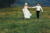 Wedding couple running on green grass at sunset — Stock Photo