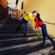 Couple standing and kissing on the stairs in Rome — Stock Photo #69749351