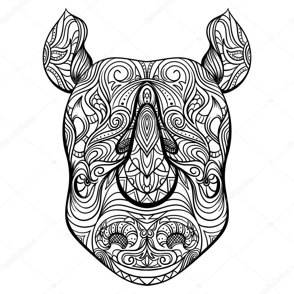 Kleurplaten Voor Volwassenen Tattoo.Kleurplaten Voor Volwassenen Neushoorn Rhino Head With Ornament