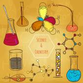 Science chemistry laboratory vector background sketchy style — Stock Vector
