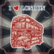 Vintage label with English bus on the grunge background. Retro hand drawn vector illustration poster in sketch style ' I love london' — Stock Vector #75617825