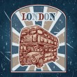 Vintage label with English bus on the grunge background. Retro hand drawn vector illustration poster in sketch style ' I love london' — Stock Vector #75626773