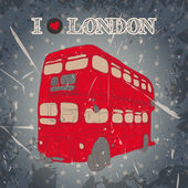 Vintage label with English bus on the grunge background. Retro hand drawn vector illustration poster in sketch style ' I love london' — Stock Vector