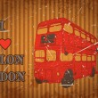 Vintage label with English bus on the grunge background. Retro hand drawn vector illustration poster in sketch style ' I love london' — Stock Vector #75630597
