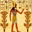 Vintage poster with egyptian god on the grunge background with ancient egyptian hieroglyphs and floral elements. Retro hand drawn vector illustration — Stock Vector #76526567